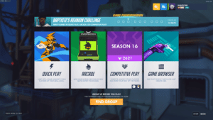 Work, Chat, and Game: FPS: 56  9:04 PM  MANTICORE  60  4  REWARD: OXO000  BAPTISTE'S REUNION CHALLENGE  ENDS IN  14 DAYS  WIN 9 GAMES IN QUICK PLAY, ARCADE, OR COMPETITIVE PLAY!  OVERWATCH  SEASON 16  r 2621  4  QUICK PLAY  ARCADE  COMPETITIVE PLAY  GAME BROWSER  JUMP INTO A GAME AGAINST OTHER  NEW GAME MODES! NEW RULES! NEW  COMPETE AGAINST OTHER PLAYERS  FIND THAT PERFECT MATCH OR JUST  CREATE ONE.  PLAYERS OF YOUR SKILL LEVEL  MAPS! ENTER THE ARCADE  AND WORK YOUR WAY UP THE RANKS  GROUP UP BEFORE YOU PLAY!  FIND TEAMMATES BASED ON PREFERENCES BEFORE YOU QUEUE  FIND GROUP  PRESS ENTER TO CHAT  ВАСK  ESCAPE What A Great Reward