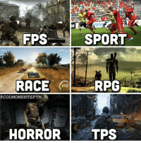 Memes, 🤖, and Dig: FPS  SPORT  PORTTION  RACE  3102  CODMOMENTSFTW  HORROR  TPS  FA14 Honestly idk which one I dig the most :o Comment your favorite! 🤙🏼 - Like my memes? Turn on my post notifications! 📲 - GamingPosts CaulOfDuty CallOfDuty Memes Cod JustinBieber Gaming PC Xbox LMAO Playstation Ps4 XboxOne CSGO Gamer Battlefield1 SelenaGomez بوس_ستيشن GTA Follow MLG Meme InfiniteWarfare MWR Like YouTube Relatable Like4Like Like4Follow DankMemes