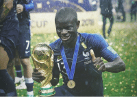 World Cup, France, and World: FRANCE-CROATE <p>According to various reports, during France&rsquo;s on-pitch trophy celebrations, Steven N'Zonzi had to ask certain players to let N'Golo Kanté hold the World Cup⁠ ⁠ trophy because he was too shy to ask &amp; didn&rsquo;t want to impose on anyone.</p>