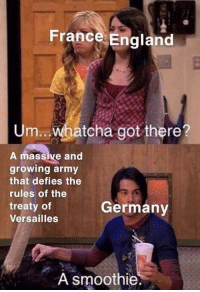 Rising tension between European countries in 1939: France England  Um.. Whatcha got there?  A massive and  growing army  that defies the  rules of the  treaty of  Versailles  Germanv  A smoothie. Rising tension between European countries in 1939