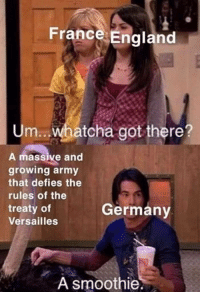 England, Army, and France: France England  Um.. whatcha got there?  A massive and  growing army  that defies the  rules of the  treaty of  Versailles  Germany  A smoothie Britain find out about Germanys army. August 1939