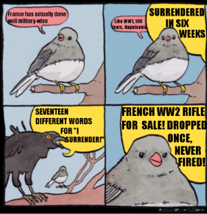 "Actual Creativity with a French WW2 Meme?: France has actually done  SURRENDERED  ell military-wise  Tike ww',100IN SIX  ears, Napoleoni  ,s,WEEKS  SEVENTEEN  DIFFERENT WORDSF  FRENCH WW2 RIFLE  FOR SALE! DROPPED  FOR ""  URRENDER!""  ONCE,  NEVER  FIRED! Actual Creativity with a French WW2 Meme?"