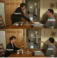France, Hitler, and Versailles: France  Hitler  Treaty of Versailles  Treaty of Versailles  Hitler  France Hitler ignoring the Treaty of Versailles (1939)