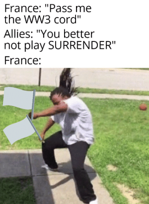 """It's all they know: France: """"Pass me  the WW3 cord""""  Allies: """"You better  not play SURRENDER""""  France: It's all they know"""