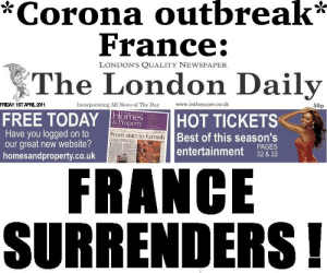 France surrenders there baguettes to the corona: France surrenders there baguettes to the corona
