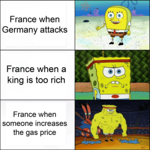 The baguette land surrendered: France when  Germany attacks  rance when a  ing is too rich  France when  someone increases  the gas price The baguette land surrendered