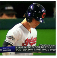 Fail, Mlb, and Game: FRANCHISE HISTO  FIRST OUTFIELDER TO START  30  TYLER  POSTSEASON GAME SINCE 1948  NAQUIN  LARRY DOBY TBS Fail