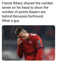 Head, Memes, and Respect: Franck Ribery shaved the number  seven on his head to show the  number of points Bayern are  behind Borussia Dortmund  What a guy.  RESPECT
