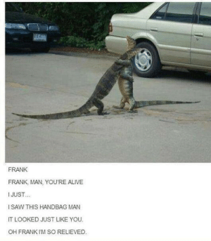 Alive, Friends, and Saw: FRANK  FRANK, MAN, YOU'RE ALIVE  I JUST  I SAW THIS HANDBAG MAN  IT LOOKED JUST LIKE YOU  OH FRANK I'M SO RELIEVED. Your friends are always there for you