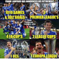 Memes, Frank Lampard, and 🤖: FRANK LAMPARD HAS ANNOUNCED HISRETIREMENT.  BA Cl  &802 GOALS PREMIER LEAGUES  Credit  Soccerclub  @Inslatroll futbol  AMSUNG  4 FA CUPS  2 LEAGUE CUPS  1 UCL You Will Be Missed Legend ❤⚽️