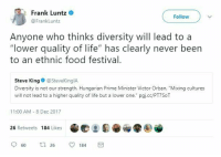 "Food, Life, and Logic: Frank Luntz o  @FrankLuntz  Follow  Anyone who thinks diversity will lead to a  ""lower quality of life"" has clearly never been  to an ethnic food festival  Steve King @SteveKinglA  Diversity is not our strength. Hungarian Prime Minister Victor Orban, ""Mixing cultures  will not lead to a higher quality of life but a lower one."" pgj.cc/PT7SoT  11:00 AM - 8 Dec 2017  26 Retweets 184 Likes"