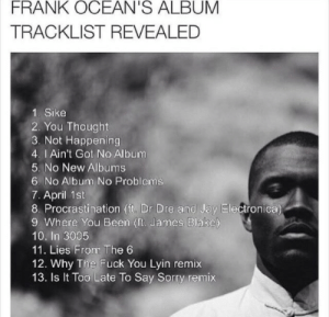 Boys dont cry tracklist revealed: FRANK OCEAN'S ALBUM  TRACKLIST REVEALED  1. Sike  2. You Thought  3. Not Happening  4. I Ain't Got No Album  5. No New Albums  6. No Album No Problems  7. April 1st  8 Procrastination (it, Dr Dre and Jay Electronica  9. Where You Been (ft. James Blake)  10. In 3005  11. Lies From The 6  12. Why The Fuck You Lyin remix  13. Is It Too Late To Say Sorry remix Boys dont cry tracklist revealed