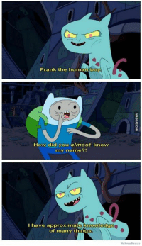 Dank, 🤖, and Human: Frank the human  boy  How did you almost know  my name?!  I have approximate knowledge  of many things This is why I love Adventure Time! http://9gag.com/gag/a1ejqxG?ref=fbp