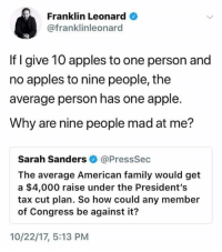 Apple, Family, and American: Franklin Leonard  @franklinleonard  If I give 10 apples to one person and  no apples to nine people, the  average person has one apple  Why are nine people mad at me?  Sarah Sanders @PressSec  The average American family would get  a $4,000 raise under the President's  tax cut plan. So how could any member  of Congress be against it?  10/22/17, 5:13 PM