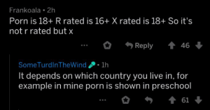 Live, Porn, and Dank Memes: Frankoala 2h  Porn is 18+ R rated is 16+ X rated is 18+ So it's  not r rated but x  ..。.,  Reply 會46  SomeTurdlnTheWind1h  It depends on which country you live in, for  example in mine porn is shown in preschool  * 勿 會61 Johnny Johnny, Yes Papa, Wanna suck my PP, HAHAHA 🍆💦