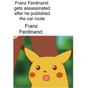 History, Time, and Be Careful: Franz Ferdinand:  gets assassinated  after he published  the car route  Franz  Ferdinand: be careful next time