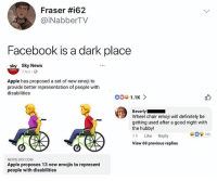 Fuckin ell Bev 😳@epicfunnypage voted the funniest meme page on instagram 😂: Fraser #i62  @iNabberTV  Facebook is a dark place  sky Sky News  7 hrs.  Apple has proposed a set of new emoji to  provide better representation of people with  disabilities  Beverly  Wheel chair emoji will definitely be  getting used after a good night with  the hubby!  7h Like Reply  View 69 previous replies  185  NEWS SKY.COM  Apple proposes 13 new emojis to represent  people with disabilities Fuckin ell Bev 😳@epicfunnypage voted the funniest meme page on instagram 😂