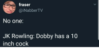MeIrl: fraser  @iNabberTV  No one:  JK Rowling: Dobby has a 10  inch cock MeIrl