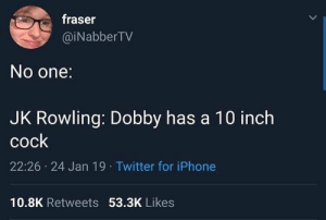 dobby: fraser  @iNabberTV  No one:  JK Rowling: Dobby has a 10 inch  cock  22:26 24 Jan 19 Twitter for iPhone  10.8K Retweets 53.3K Likes