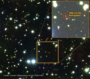 Radio, Tumblr, and Blog: FRB 121102  host galaxy  0  0  Credit: Gemini Observatory/AURA/NSF/NRC photos-of-space:  Extraterrestrial Origin Of Fast Radio Burst Phenomenon Confirmed