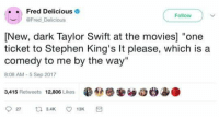 """Movies, Stephen, and Taylor Swift: Fred Delicious .  @Fred Delicious  Follow )  [New, dark Taylor Swift at the movies] """"one  ticket to Stephen King's It please, which is a  comedy to me by the way""""  8:08 AM-5 Sep 2017  3,415 Retweets 12,806 Likes  ●@簖搴ソ8e.ae"""