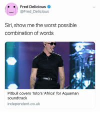 Africa, Siri, and The Worst: Fred Delicious  @Fred_Delicious  Siri, show me the worst possible  combination of words  Pitbull covers Toto's 'Africa' for Aquaman  soundtrack  independent.co.uk @fred_delicious