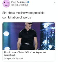 Africa, Funny, and Memes: Fred Delicious  @Fred_Delicious  Siri, show me the worst possible  combination of words  Pitbull covers Toto's 'Africa' for Aquaman  soundtrack  independent.co.uk 55 Funny Memes Of The Day To Make Your Laugh