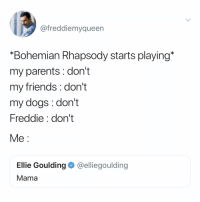 "Dogs, Friends, and Parents: @freddiemyqueen  ""Bohemian Rhapsody starts playing*  my parents : don't  my friends: don't  my dogs: don't  Freddie: don't  Me:  Ellie Goulding @elliegoulding  Mama just killed a man..."
