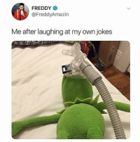 Memes, Jokes, and 🤖: FREDDY  @FreddyAmazin  Me after laughing at my own jokes Honestly I need my own tv show 😭😂 I laugh harder at my own jokes than anyone ever has 💯💀