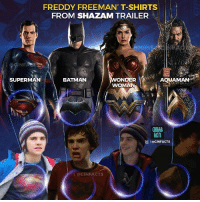 I hope @jackdgrazer has a flash and cyborg t-shirts for the full collection. Which easter eggs have you noticed in Shazam trailer? - Tag your friends. Feel free to comment and share, just give credit!: FREDDY FREEMAN' T-SHIRTS  FROM SHAZAM TRAILER  NE  SUPERMAN  BATMAN  WOMAN  CINEMA  FACTS  叵1 @clNFACTS  @CINFACTS I hope @jackdgrazer has a flash and cyborg t-shirts for the full collection. Which easter eggs have you noticed in Shazam trailer? - Tag your friends. Feel free to comment and share, just give credit!