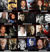 michael myers: FREDDY KRUEGER  VOICE OF CHUCKY  THE CREEPER  LEATHERFACE  PENNYWISE  GHOSTFACE KILLER  MAN IN THE MASK THESTRANGERS  PINHEAD  LEPRECHAUN  MICHAEL MYERS  CHROMESKULL  JASON VOORHEES