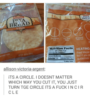 How to slice a pitaomg-humor.tumblr.com: FredMeyer  PredMeyer  PITA  BREA  S Plain  PITA  BREAD  5 Plain  DO  Sandwich  Cut  Diagonal  Taco Cut  Hot Dog  Slice  Nutrition Facts  Serving Size 1 Piece (57g)  Servings Per Container 5  CHOLESTEROL  HEATING  Fred Meyer  but if you pr  guidelines  NET WT 10 OZ (283g)  AT FREE FOOD  Amount Per Serving  Calories 130 Calories from Fat 0  % Daily Value  AMierowaye  allison-victoria-argent:  iTS A CIRCLE. I DOESNT MATTER  WHICH WAY YOU CUT IT, YOU JUST  TURN TGE CIRCLE ITS A FUCK I NCIR  CLE How to slice a pitaomg-humor.tumblr.com