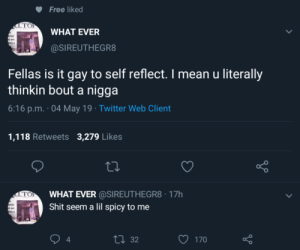 Dank, Memes, and Shit: Free liked  то  WHAT EVER  ner  t on  tics  @SIREUTHEGR8  Fellas is it gay to self reflect. I mean u literally  thinkin bout a nigga  6:16 p.m. 04 May 19 Twitter Web Client  1,118 Retweets 3,279 Likes  LTOWHAT EVER @SIREUTHEGR8 17h  Shit seem a lil spicy to me  ner  t on  itics  o D  ロ32  170  4 Suspect. by Rolloverbeethoven93 MORE MEMES