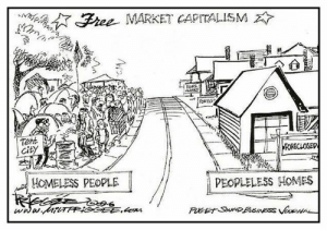 daily-political-humor:  The efficiency of the free market: Free MARKET CAPITALISM  FORS  FOREUS  Tent  City  FORECLOSED  HOMELESS PEOPLE  PEOPLELESS HOMES  www.MrTAPIGGEE.com  PUCET SouND PUSINESS VOURNAL daily-political-humor:  The efficiency of the free market