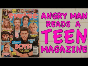 """culchiescorner:  Somebody animate this with krieg the psycho. Please god: FREE  otANGRY MAN  READS A  with Zl""""  Nask  Td ll in leve  amat and aset  TEEN  MAGAZINE  uke's  stist  pleb  Gish  The real reason  he's single  The irting move  Shawn can  resist!  All about  BOYS!  ur  eiiha  FAI culchiescorner:  Somebody animate this with krieg the psycho. Please god"""