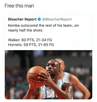 Basketball, Nba, and Sports: Free this man  Bleacher Report @BleacherReport  Kemba outscored the rest of his team...on  nearly half the shots  Walker: 60 PTS, 21-34 FG  Hornets: 59 PTS, 21-65 FG I know his back hurt 😂