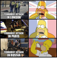 England, Facebook, and Memes: FREE THOUG  TERRORIST ATTACK  IN LONDON  aa  TERRORIST ATTACK  IN PARIS  TERRORIST ATTACK  IN RUSSIA 💭 Failure of US Solidarity With Russia Over Attack Shows the Real Enemy Is NOT Terrorism... It's Forgetting Our Humanity... REPORT: (link to article in our bio) An alleged terrorist detonated an improvised explosive device on a StPetersburg subway train Monday, killing eleven people and wounding at least 50 more — after which Russian authorities discovered and defused an additional deadly apparatus at a second metro location, likely preventing further carnage. . And while American corporate press published obligatory, cursory rundowns of the incident, notably absent in coverage — as well as on social media — were the typical trite, if maudlin, demands to fight the War on Terror a little bit harder. . Because solidarity. One would think. . When, just last month, a maniac attacker plowed his vehicle into a London crowd, killing three, then rammed the gates of British Parliament and stabbed to death a police officer, a tidal wave of condolences and calls for revived unity against ever-nebulous terrorism flooded England from every corner of the globe. . Union Jacks fast adorned a sea of Facebook profile images — as had the flags of Germany and France when each endeavored to recover following similarly devastating tragedies. . Monuments quickly glowed with the brilliant colors of each flag — from the Eiffel Tower to the Brandenburg Gate — if not in person, the entire planet witnessed heightened nationalism incidentally opportuned from disaster, plastered across front page headlines for days or more... . - Continued - . 💭 Read the FULL Report: (link in bio) http:-thefreethoughtproject.com-russia-attacks-failure-us-solidarity- 💭 Join Us: @TheFreeThoughtProject 💭 TheFreeThoughtProject Russia Terror 💭 LIKE our Facebook page & Visit our website for more News and Information. Link in Bio.... 💭 www.TheFreeThoughtProject.com