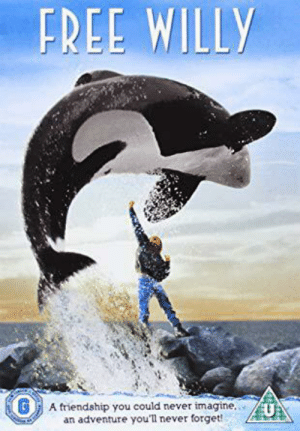 The title of the movie Free Willy is actually a spoiler about the ending of the movie. Where a boy steals a whale named Willy, free of charge.: FREE WILLY  G  A friendship you could never imagine.  an adventure you'll never forget!  U The title of the movie Free Willy is actually a spoiler about the ending of the movie. Where a boy steals a whale named Willy, free of charge.