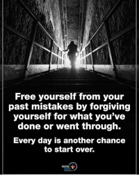 Energy, Memes, and Free: Free yourself from your  past mistakes by forgiving  yourself for what you've  done or went through.  Every day is another chance  to start over.  POSITIVE  ENERGY Free yourself from your past mistakes by forgiving yourself for what you've done or went through. Every day is another chance to start over. positiveenergyplus