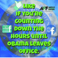 Facebook, Memes, and Obama: FREEDOM  FIGHTERS  www.americasfreedomfighters com  Down  NATION  IN  The Voice  DISTRESS  of the People  like us on  Like us on  facebook  Facebook  HOURS TIL  OBAMA Aves  OFF Ce. Can't wait for Obama to leave office and Trump voted in!