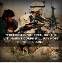 """Free, Dolan, and Military: """"FREEDOM IS NOT FREE, BUT THE  U.S. MARINE CORPS WILL PAY MOST  OF YOUR SHARE.""""  AS  NED DOLAN  DEVILDOGGRAPHIX.COM <p>Well that&rsquo;s hardly fair. I say all the Bernie supporters should pay their fair share of military service.</p>"""