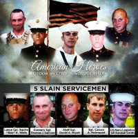 "cnn.com, Facts, and Family: FREEDOM ISN'T FREE, HONOR OUR HEROES  5 SLAIN SERVICEMEN  Lance Cpl. Sauire Gunnery Sgt.  Sgt. Carson US. Navy Logistics  A. Holmquist SP Randall Smith  Staff Sgt.  ""Skip"" K. Wells Thomas J.Suivan David A. Wyatt 🇺🇸 Remember those we lost in chattanooga. We lost five heroes who were defending our country. 🇺🇸 Sgt. Carson Holmquist, 25; Gunnery Sgt. Thomas Sullivan, 40; Lance Cpl. Squire ""Skip"" Wells, 21; Staff Sgt. David A. Wyatt, 35, and U.S. Navy Petty Officer 2nd Class Randall Smith were killed in the attack. 🇺🇸 Chattanooga Police Officer Dennis Pedigo and USMarine Sgt. DeMonte Cheeley were wounded but survived. 🇺🇸 We have forgotten the story of unarmed brave men who were cowardly murdered by a Moslem terrorist. We have forgotten that our military is unarmed in our recruiting offices nation wide and we must all change that so another attack can be prevented. What stopped the terrorist? An Armed Marine and an Armed Police Officer. We must continue honoring the men who died in this senseless attack. When this Attack happen and even after lame stream media including CNN push the propaganda it was a lone man shooter but after all the facts were investigated in fact it was a Moslem refugee with ties to radical groups and performed another Moslem terrorist act in our nation. The Moslem family even defended this pos act. We will never forget how the obama administration play down this terrorist attack! tennessee USMC tipofthespear marinecorps sailor military shipmate groundpounder marinerecruiter navyrecruiter igmilitia rememberthefallen rememberourheroes rip secondamendment NRA semperfidelis SemperFi usnavy"