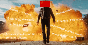 Happy, History, and Mean: Freedom of speech  Human rights  Freedom of the press  Independent political activities  Basic living standards  Public elections  Peace and prosperity  A leader who doesn't kill over  20 million citizens Soviet union: what do you mean keeping the people happy?