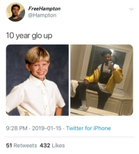 Blackpeopletwitter, Funny, and Glo Up: FreeHampton  @Hampton  10 year glo up  9:28 PM 2019-01-15 Twitter for iPhone  51 Retweets 432 Likes