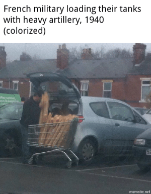 Oui Oui: French military loading their tanks  with heavy artillery, 1940  (colorized)  ffee machines  on &everythina  bet  mematic.net Oui Oui