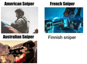 Almost night, A crimson horizon: French Sniper  American Sniper  9A  Finnish sniper  Australian Sniper Almost night, A crimson horizon