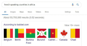 Africa, Belgium, and Facepalm: french speaking countries in africa  All Images Maps Ns Videos More  About 53,700,000 results (0.52 seconds)  According to babbel.com  Settings Tools  View 15+ more  Belgium Bei Burkina Burundi Camer.. Canada Chad  Faso French-speaking countries....wow