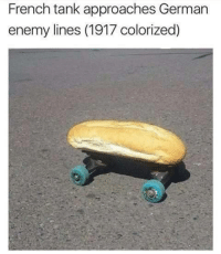 enemy: French tank approaches German  enemy lines (1917 colorized)