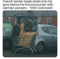 French, Tank, and German: French tanker loads shells into his  tank before his first encounter with  German panzers 1940 (colorized)  the French Tanker Circa 1940