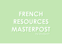 "Anaconda, Click, and Definitely: FRENCHH  RESOURCES  MASTERPOST  by studyvet scholarc:  As a student learning French, I thought it would be neat to offer French resources not only for myself, but for other French learners! Learning Websites  Duolingo    Bonjour   Babbel   ieLanguages  TalkInFrench  TheFrenchTutorial  FrenchCrazy  TheFrenchExperiement  FrenchByFrench  Memrise  Busuu  LanguagesOnline Lingvist Dictionaries  Checkers  Bonpatron (Checker)  Languagetool (Checker)  Reverso (Checker)  Linguee (Dictionary)  Reverso Dictionary (Dictionary/Checker)  Collins Dictionary (Dictionary)  Wordreference (Dictionary)  Linternaute (Dictionary)  Larousse (Dictionary) Pronunciation  Frenchcrazy English vs. French  Letter Pronounciation FSI Language TalkInFrench Pronunciation PDF Phonetique PronunciationGuide Fluentu Grammar Basics Contractions Possessive Determiners Indefinite Articles Definite Articles Demonstrative Determiners Interrogatives Partitive Articles Prepositions Conjunctions  Conjugating Words (-ER, -IR, -RE; regular  irregular) + examples Accent Marks  Imparfait vs Passe Compose  Imparfait vs Passe Compose 2  Passé Composé (past tense)  Futur Proche (near future, using aller) Future Tense  Feminine  Masculine Words (+ Genders) Tips from Native Speakers Vocabulary  100 Subjects 41 Subjects 1000 Most Common French Words 170+ Subjects  Space Vocabulary (Tumblr Masterpost)  Extra  Type French + its Accents  Studyblrs who are Learning or Already Speak French (click French)   French Words Daily (a Tumblr Account)   French Words Daily (another Tumblr Account)   Tips Definitely keep a notebook Take a class if possible If you're taking a class, write down any extra French vocabulary you may get; my teacher likes to call it ""bonus free knowledge"" when she gives us extra vocabulary Practice pronouncing. All. The. Time. Take notes Have readable notes Practice writing  grammar Once you start learning, do not stop or else you're going to forget things!! Take quizzes  tests online for practice Make some online French friends :))  Thank you for reading my masterpost! MY MASTERPOSTS: How to Color Code  Highlight Efficiently How to Make Flashcards How to Get  Be Motivated How to Get Enough Sleep  The Mega Stationery Masterpost What are in my Pencil Cases?   All"